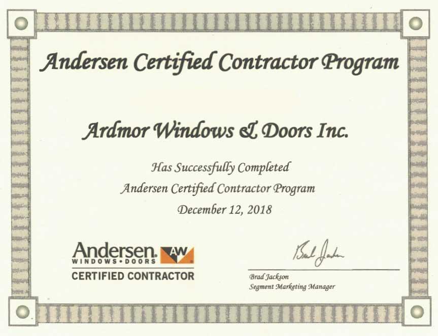 Andersen Certified Contractor